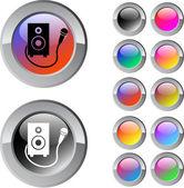 Karaoke botão redondo multicolor. — Vetorial Stock