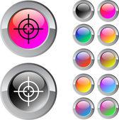 Pohled vícebarevná kulaté tlačítko. — Stock vektor