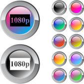 1080p multicolor round button. — Stock Vector