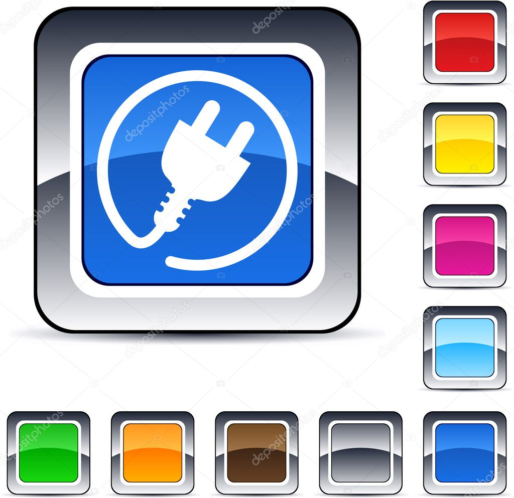Power plug glossy square web buttons. — Imagen vectorial #6156724