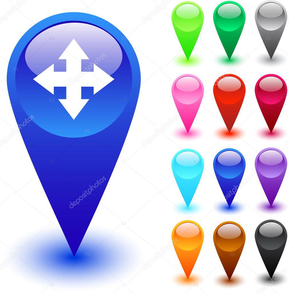 地图按钮 — 图库矢量图片