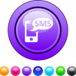 Stock Vector: SMS circle button.