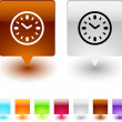 Stock Vector: Time square button.