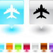 Aircraft square button. — Stock Vector #6164021