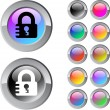 Lock multicolor round button. — Stock Vector