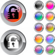 Vector de stock : Unlock multicolor round button.