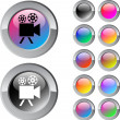 Video camera multicolor round button. — Stock Vector
