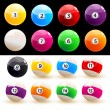 Set of colored balls billiard - Vettoriali Stock