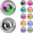 Refresh multicolor round button. — Stock Vector