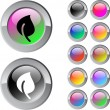 Leaf multicolor round button. — Stockvectorbeeld