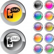 Stock Vector: SMS multicolor round button.