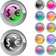 Money exchange multicolor round button. — Imagens vectoriais em stock