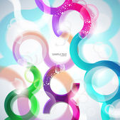 Vector colorful abstract background. Curves lines and bubbles de — Stock Vector