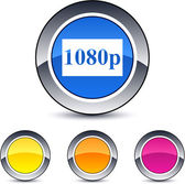 1080p round button. — Stock Vector