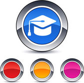 Graduation round button. — Stock Vector