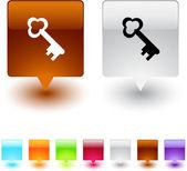 Key square button. — Stock Vector