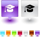 Graduation square button. — Stock Vector