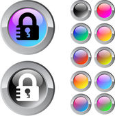 Lock multicolor round button. — Stock Vector