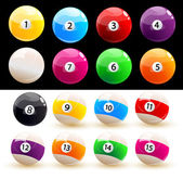 Set of colored balls billiard — Stock Vector