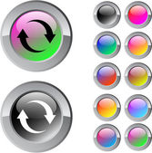 Refresh multicolor round button. — Stock Vector