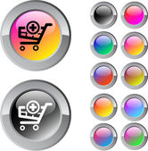 Add to cart multicolor round button. — Stock Vector