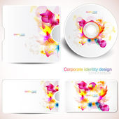 Cover design template of disk and business card. Floral Design — Stock Vector