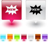 Novo botão quadrado. — Vetorial Stock