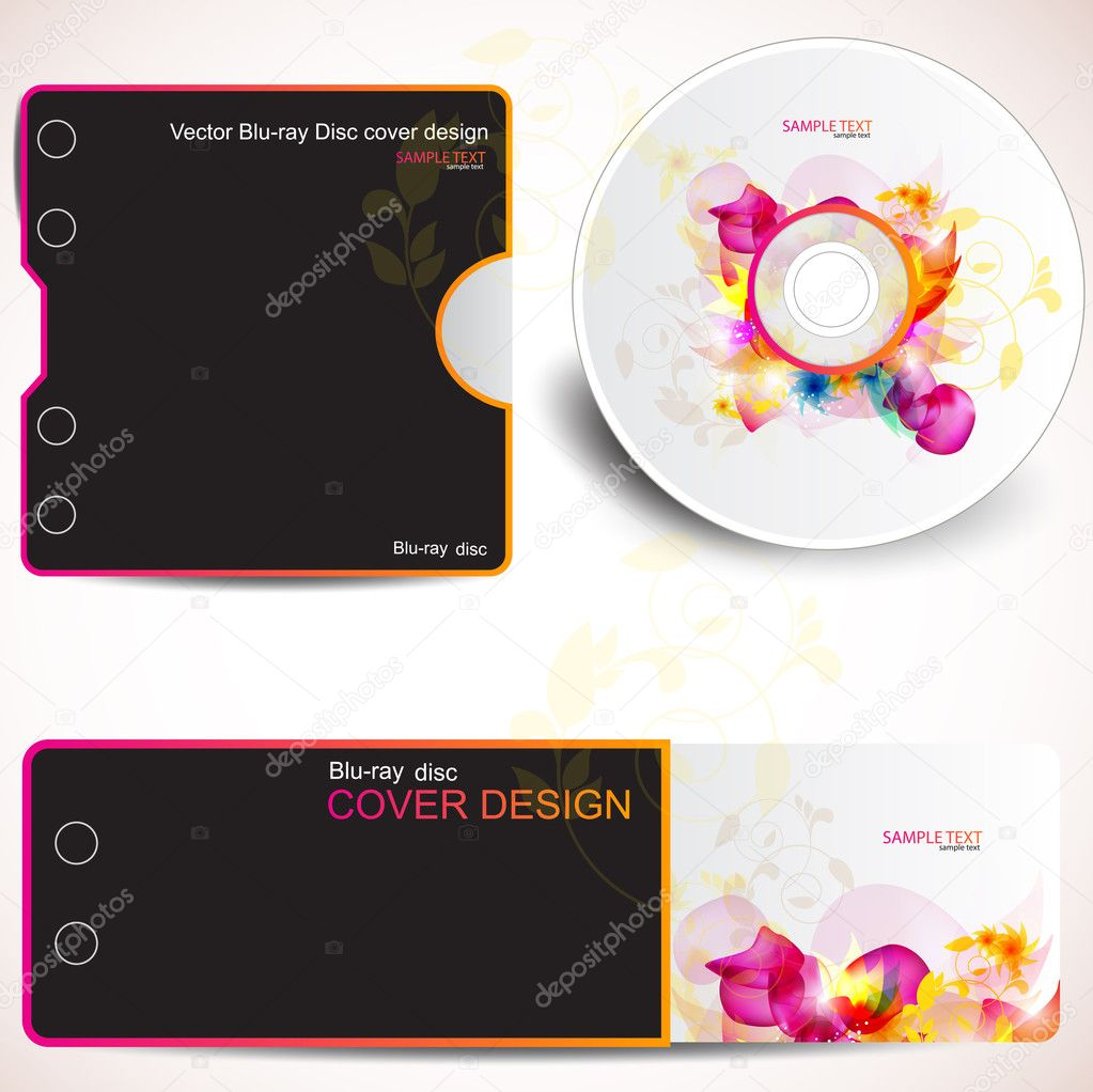 Cover design template of disk and business card. Floral Design — Stock Vector #6169756