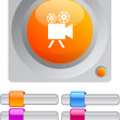 Video camercolor round button. — Stock Vector #6176751