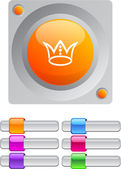 Crown color round button. — Stockvector