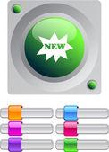 Nové barevné kulaté tlačítko. — Stock vektor