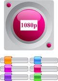1080p color round button. — Stock Vector