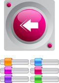 Back arrow color round button. — Stock Vector