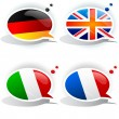 Speech bubbles with symbols national flags — Stock Vector #6185242