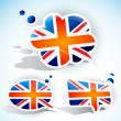 Wektor stockowy : Flag of United Kingdom. Speech bubble set