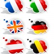 Speech bubbles with symbols national flags — Stock Vector