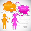 Royalty-Free Stock Vektorový obrázek: Male talking with female. Paper bubbles for  speech