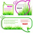 Colorful stickers for speech. Green grass. Natural background — Stock Vector