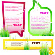 Colorful stickers for speech. Green grass. Natural background - Stock Vector