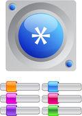 Asterisk color round button. — Stock Vector