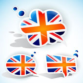 Flag of the United Kingdom. Speech bubble set — Stock Vector