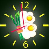 Fried egg, bacon and green asparagus — Stock Vector