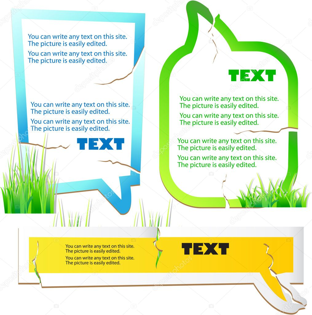 Colorful stickers for speech. Green grass. Natural background — Stock Vector #6188530