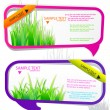 Stock Vector: Colorful stickers for speech. Green grass. Natural background
