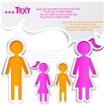 Family talking. Paper bubbles for speech — Stock Vector
