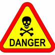 Warning sign with skull symbol isolated on white. — Stock Photo
