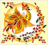 Fire bird and an ornament — Stock Vector