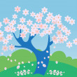 Stock Vector: Tree in bloom