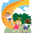 Children on the slide — Stock Vector
