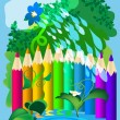 Fence of colored pencils — Stock Vector